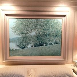 Large Andre Gisson impressionist landscape painting. Frame measures 69 inches wide by 51 inches high.