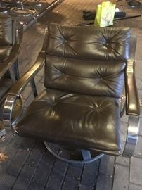 One of 8 vintage Gardner Leaver for Steelcase chrome and leather swivel chairs.