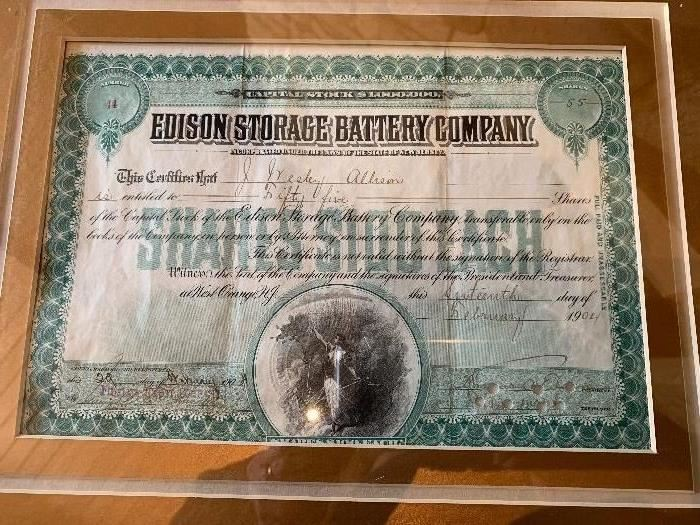 Early Edison stock certificate signed by Thomas Edison
