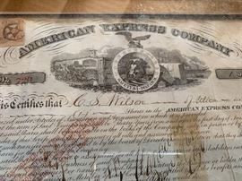 Antique 1866 low number American Express stock certificate