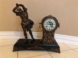 Antique Wood Haven T&S Warrior Statue Clock - Victorian Mantel Clock