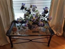 Accent tables; gorgeous faux floral arrangements