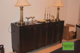 Bernhardt Server and Stiffel Lamps Trio of Candelsticks and other Decorative Items