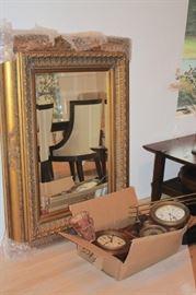 Large Gold framed Rectangular Mirror and Clocks