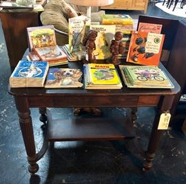 Antique Library / Foyer Table with one drawer and a collection of vintage children's books