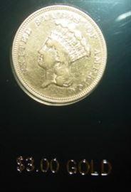 1870 Gold $3.00 Coin