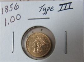 1856 Gold $1.00 Type III Coin