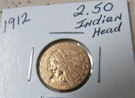 1912 Gold $2.50 Indian Head Coin