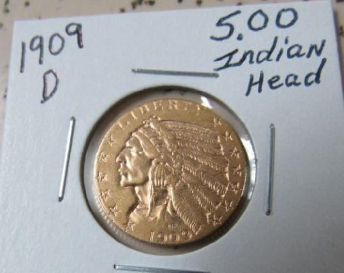 1909-D Gold $5.00 Indian Head Coin