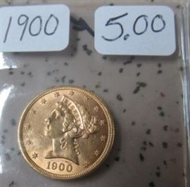 1900 Gold $5.00 Coin