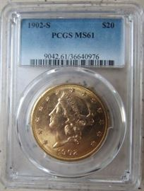PCGS 1902-S Gold $20.00 Coin