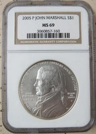 NGC  2005 P  John Marshall Silver Dollar