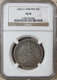 NGC  1854-O  Half Dollar w/Arrows