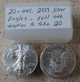 UNC. 2017 Silver Eagles