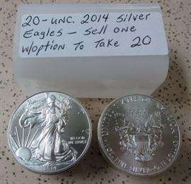 UNC. 2014 Silver Eagles