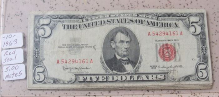 10 - 1963 Red Seal $5.00 Notes
