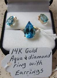 14K Gold, Aqua & Diamond Ring with Earrings