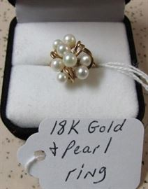 18K Gold & Pearl Ring