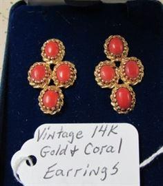 Vintage 14K Gold & Coral Earrings