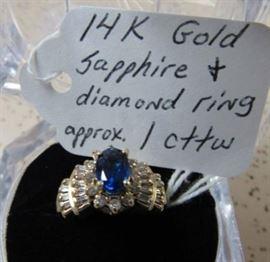 14K Gold, Sapphire & Diamond Ring - Approx. 1 cttw of Diamonds