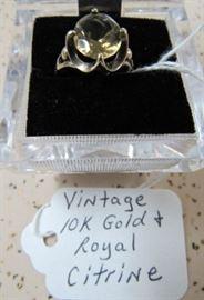 Vintage 10K Gold & Royal Citrine Ring