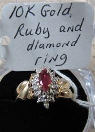 10K Gold, Ruby & Diamond Ring