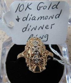 10K Gold & Diamond Dinner Ring