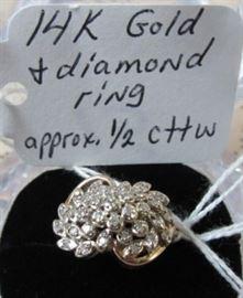 14K Gold & Diamond Ring - Approx. 1/2 cttw