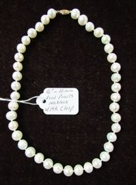 """16"""" - 10 mm Real Pearl Necklace w/14K Gold Clasp"""