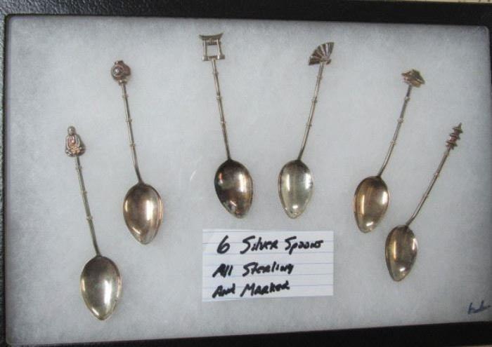 1 of 2 Displays of Sterling Spoons