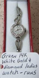 Gruen 14K White Gold & Diamond Ladies Watch - Runs