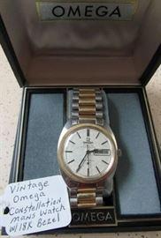 Vintage Omega Constellation Mans Watch w/18K Gold Bezel - Original Band & Box - Runs