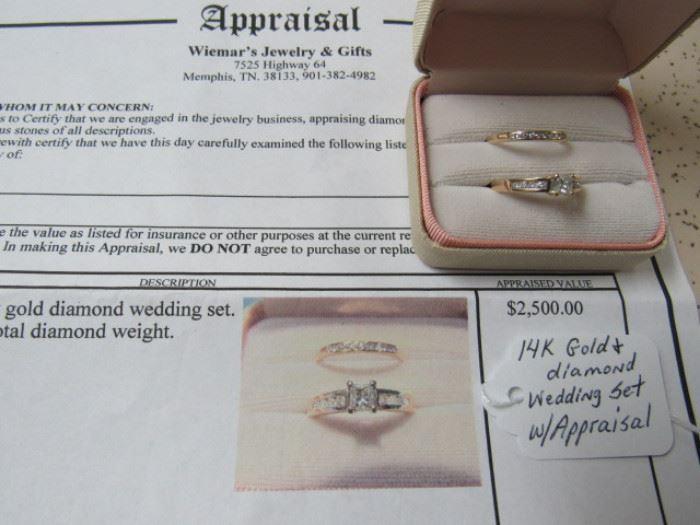14K Gold & Diamond Wedding Set w/Appraisal
