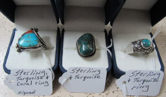 Sterling & Turquoise Rings  (Lots More Sterling Rings Not Pictured)