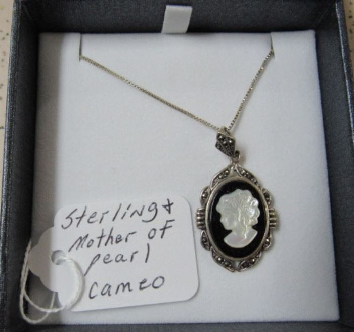 Sterling & Mother of Pearl Cameo Necklace