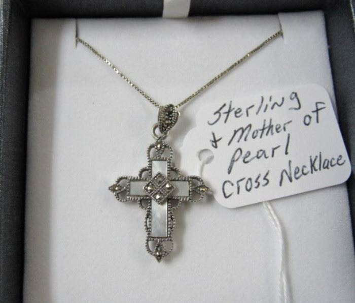 Sterling & Mother of Pearl Cross Necklace