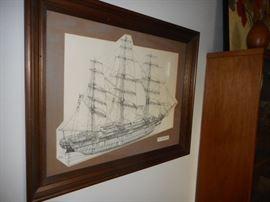 Cutty Sark Print, Matted. Knotty Pine Frame