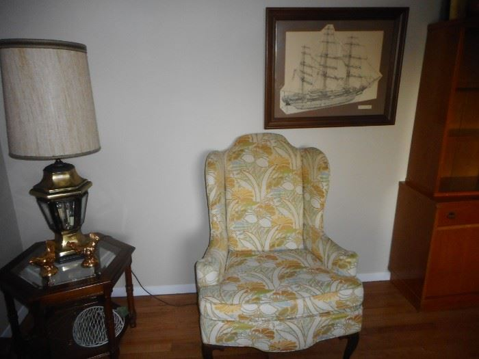 Vintage Wing Back Chair, Occasional Octagon Table Beveled Insert Glass, Cane .Steiffel Pair Lantern Table Lamps