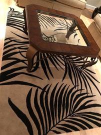 LANE COFFEE TABLE, PALM LEAF RUG