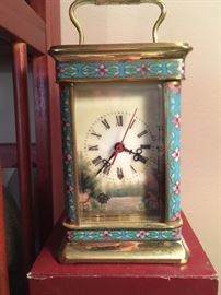 Chinese cloisonne carriage alarm clock with painted porcelain panels on all sides (refer to next photos) and original box.