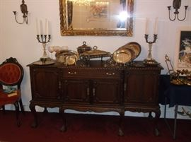 Chinese Chippendale  mahogany buffet and silverplate