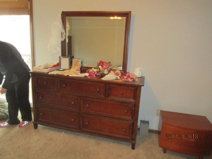 MATCHING BASSET CHERRY DRESSER AND MIRROR