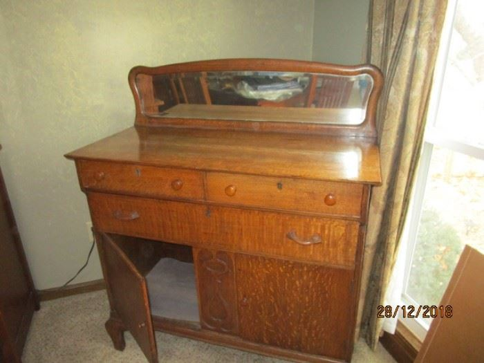 ANTIQUE BUFFET WITH BEVELED MIRROR