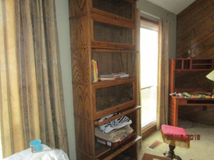 6 shelf unit Lawyer's bookcase (one of 2)