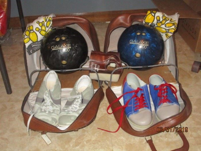 bowling balls with cases and shoes