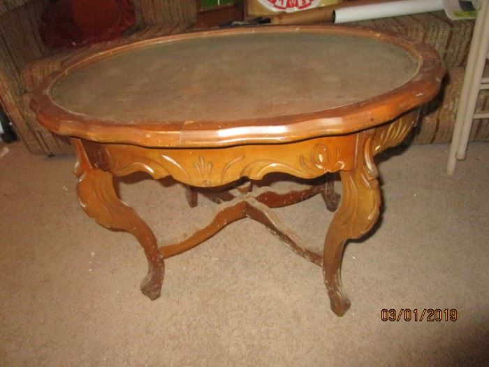 Antique carved table with removable glass top