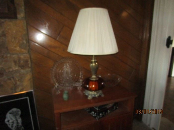 Vintage lamp with light at both top and bottom