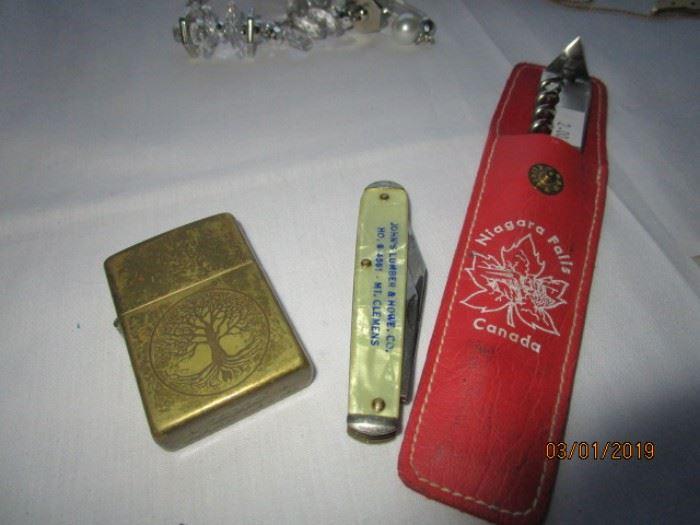 Vintage Zippo lighter, advertising knife and bottle opener
