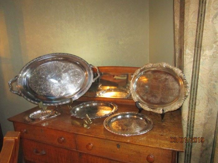 More silver plate trays