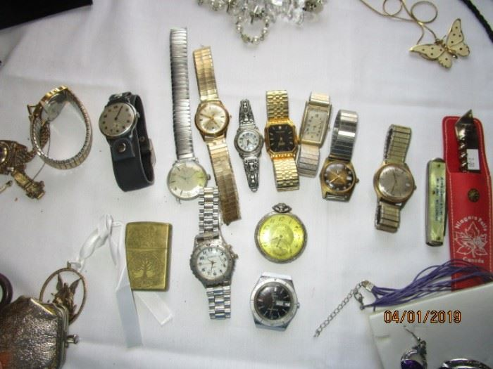 Several watches including Aristex, Bulova, Elgin pocket watch, Gruen, Fossil, Relic, Manual working Timex, etc